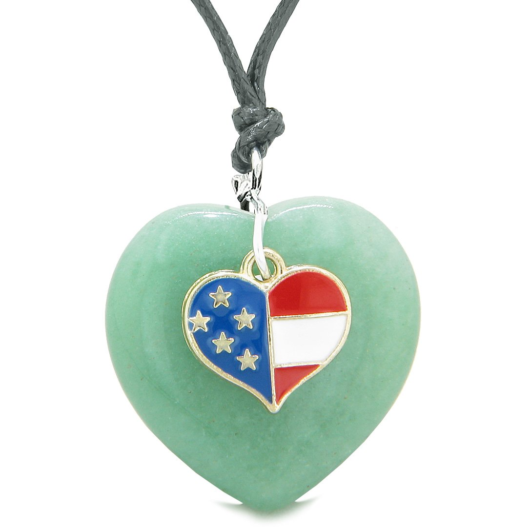Proud USA Flag Spirit Puffy Heart Protection Amulet American Charm Green Quartz Adjustable Necklace