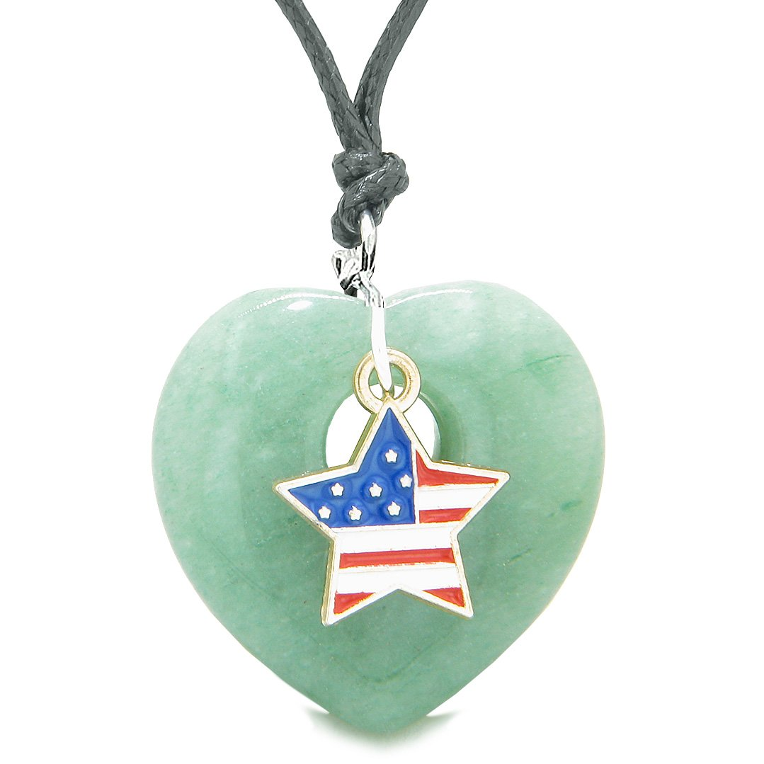 Proud USA Flag Spirit Puffy Heart Protection Amulet American Star Charm Green Quartz Adjustable Necklace