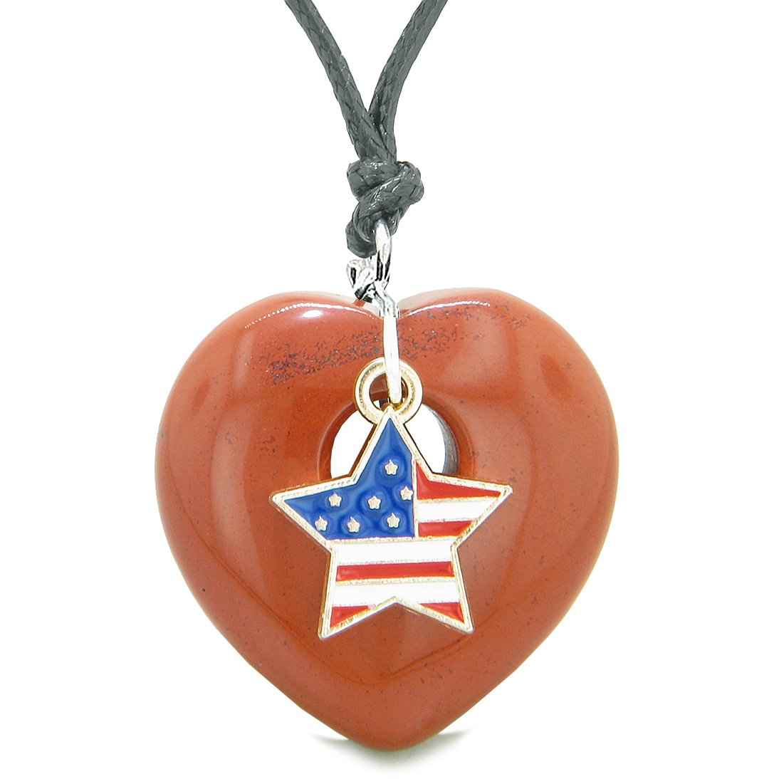 Proud USA Flag Spirit Puffy Heart Protection Amulet American Star Charm Red Jasper Adjustable Necklace