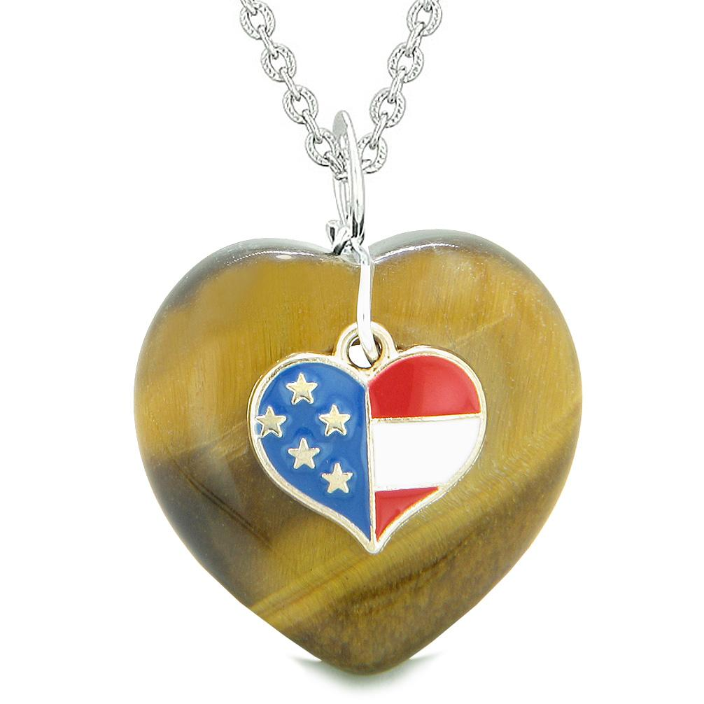 Proud USA Flag Spirit Puffy Heart Protection Amulet American Charm Tiger Eye 18 Inch Necklace