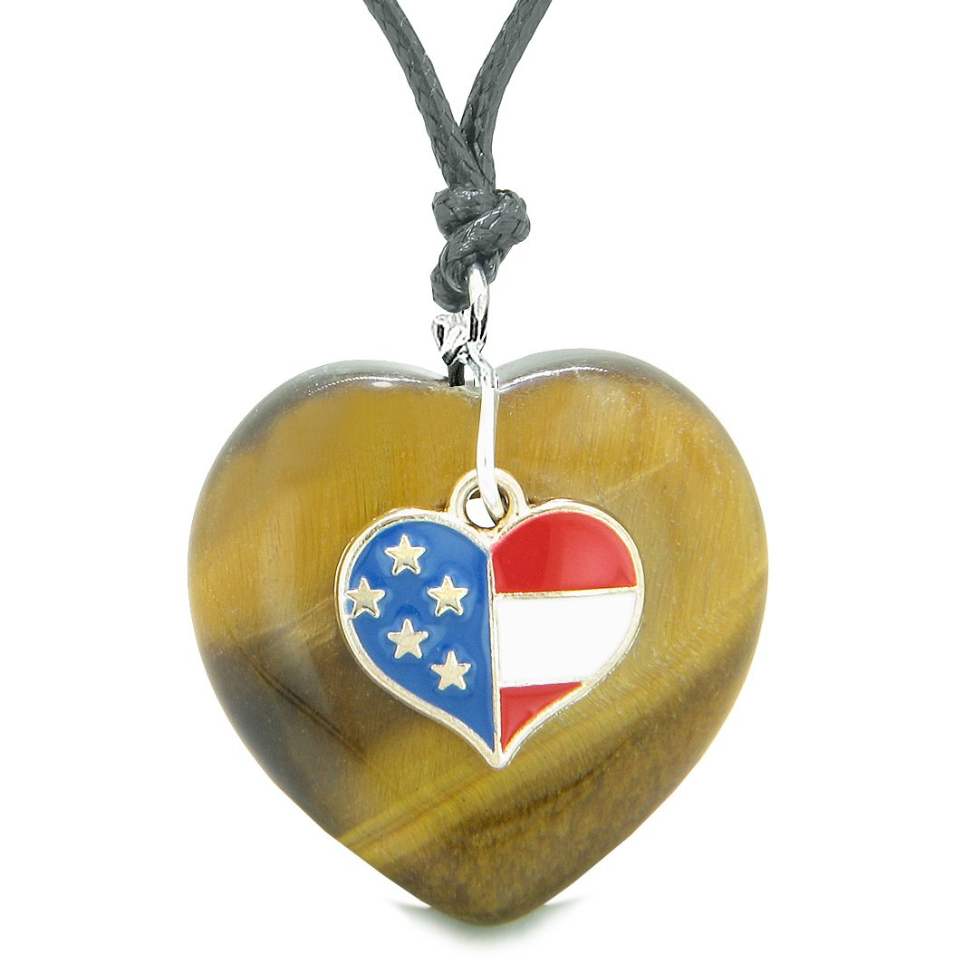 Proud USA Flag Spirit Puffy Heart Protection Amulet American Charm Tiger Eye Adjustable Necklace