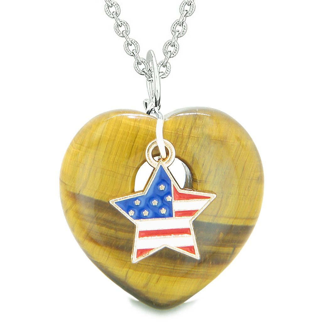 Proud USA Flag Spirit Puffy Heart Protection Amulet American Star Charm Tiger Eye 18 Inch Necklace