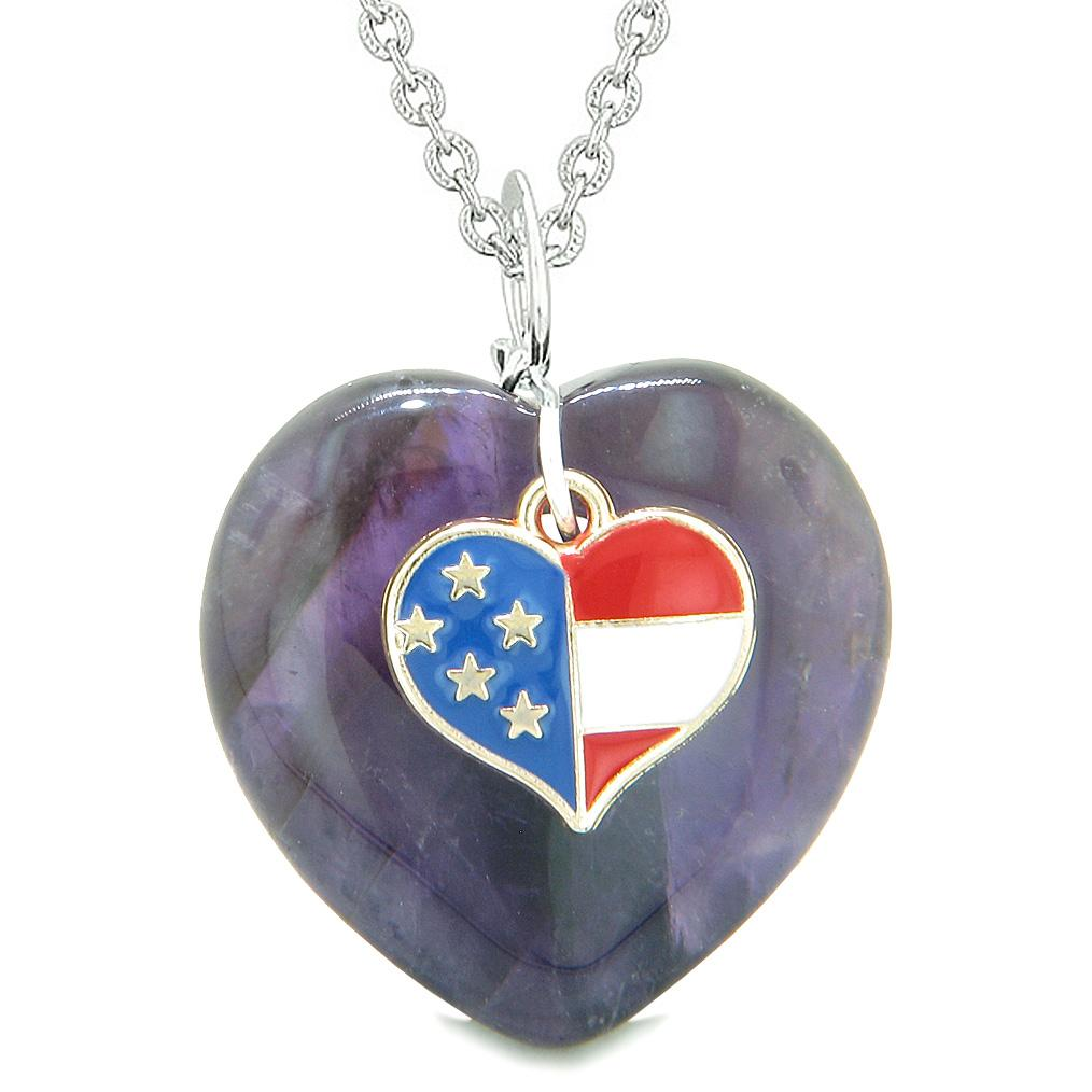 Proud USA Flag Spirit Puffy Heart Protection Amulet American Charm Purple Quartz 22 Inch Necklace