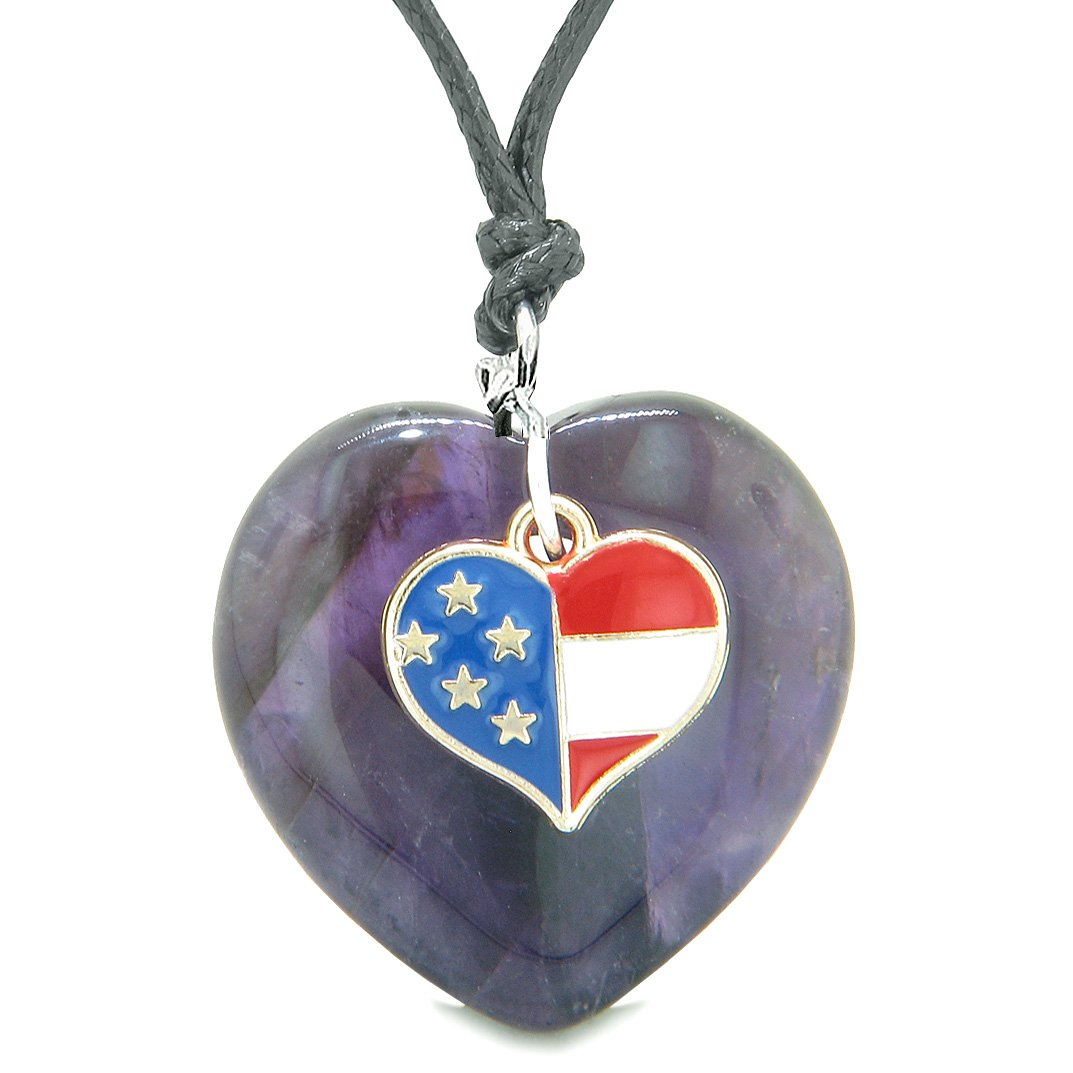 Proud USA Flag Spirit Puffy Heart Protection Amulet American Charm Purple Quartz Adjustable Necklace