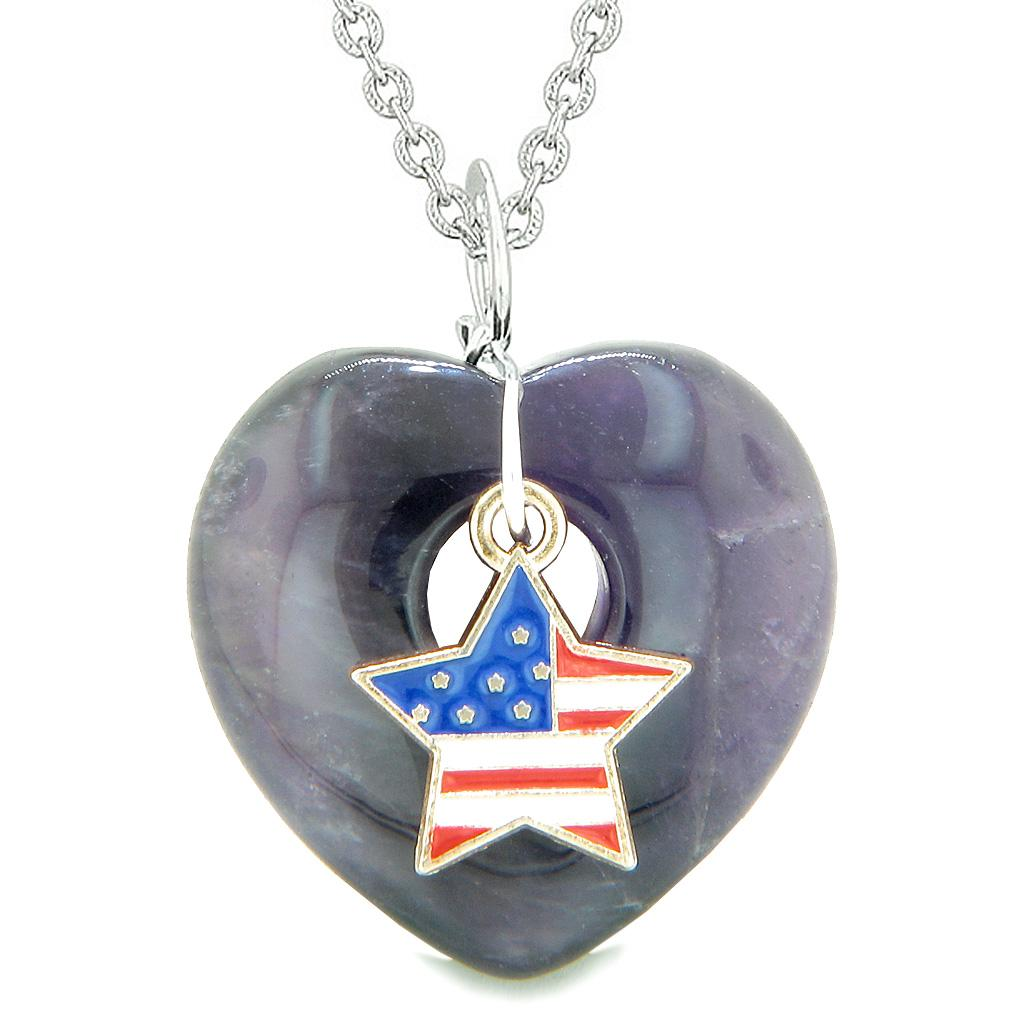 Proud USA Flag Spirit Puffy Heart Protection Amulet American Star Charm Purple Quartz 18 Inch Necklace