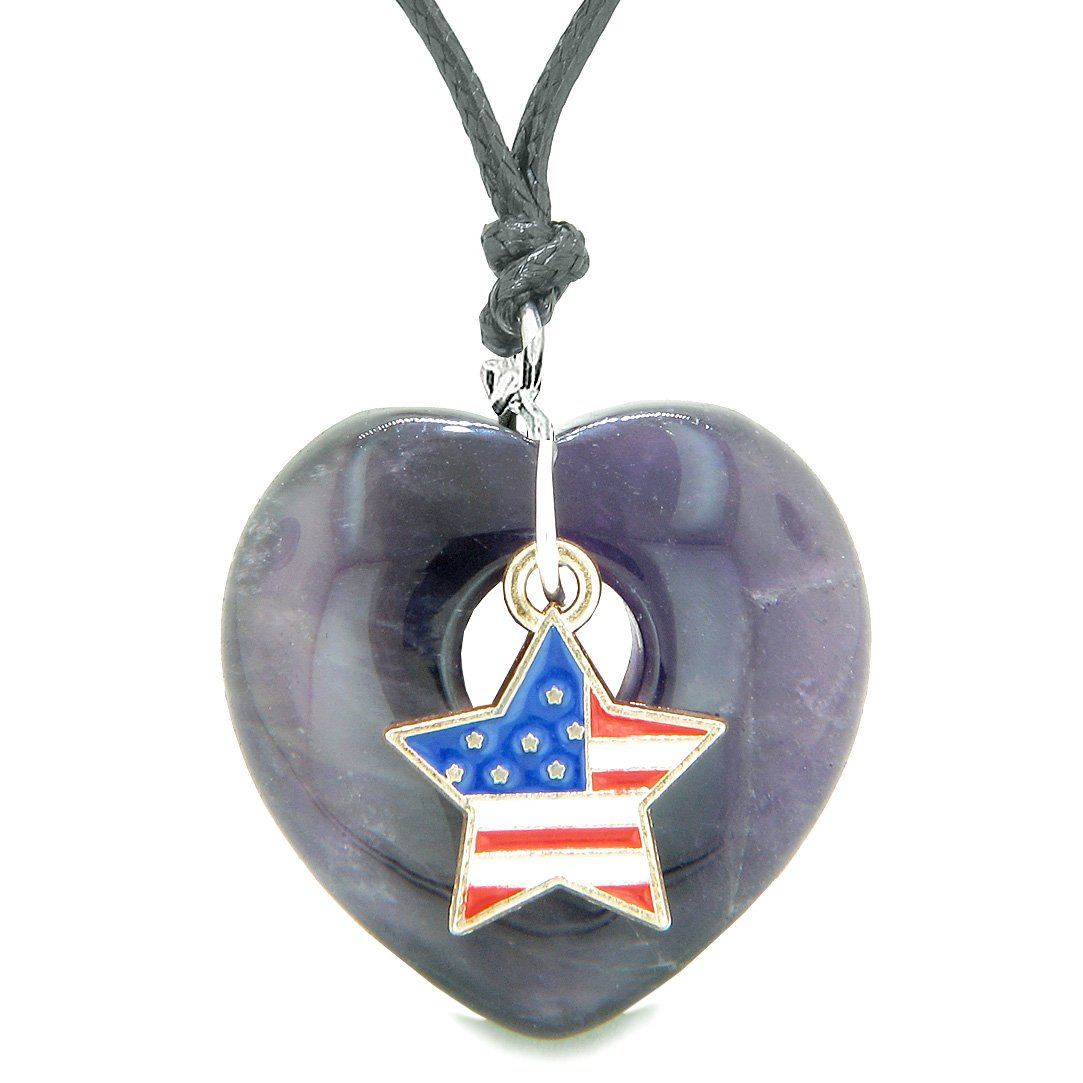 Proud USA Flag Spirit Puffy Heart Protection Amulet American Star Charm Purple Quartz Adjustable Necklace