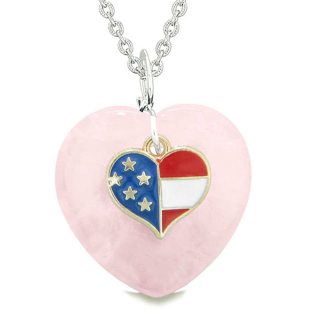 Proud USA Flag Spirit Puffy Heart Protection Amulet American Charm Rose Quartz 18 Inch Necklace