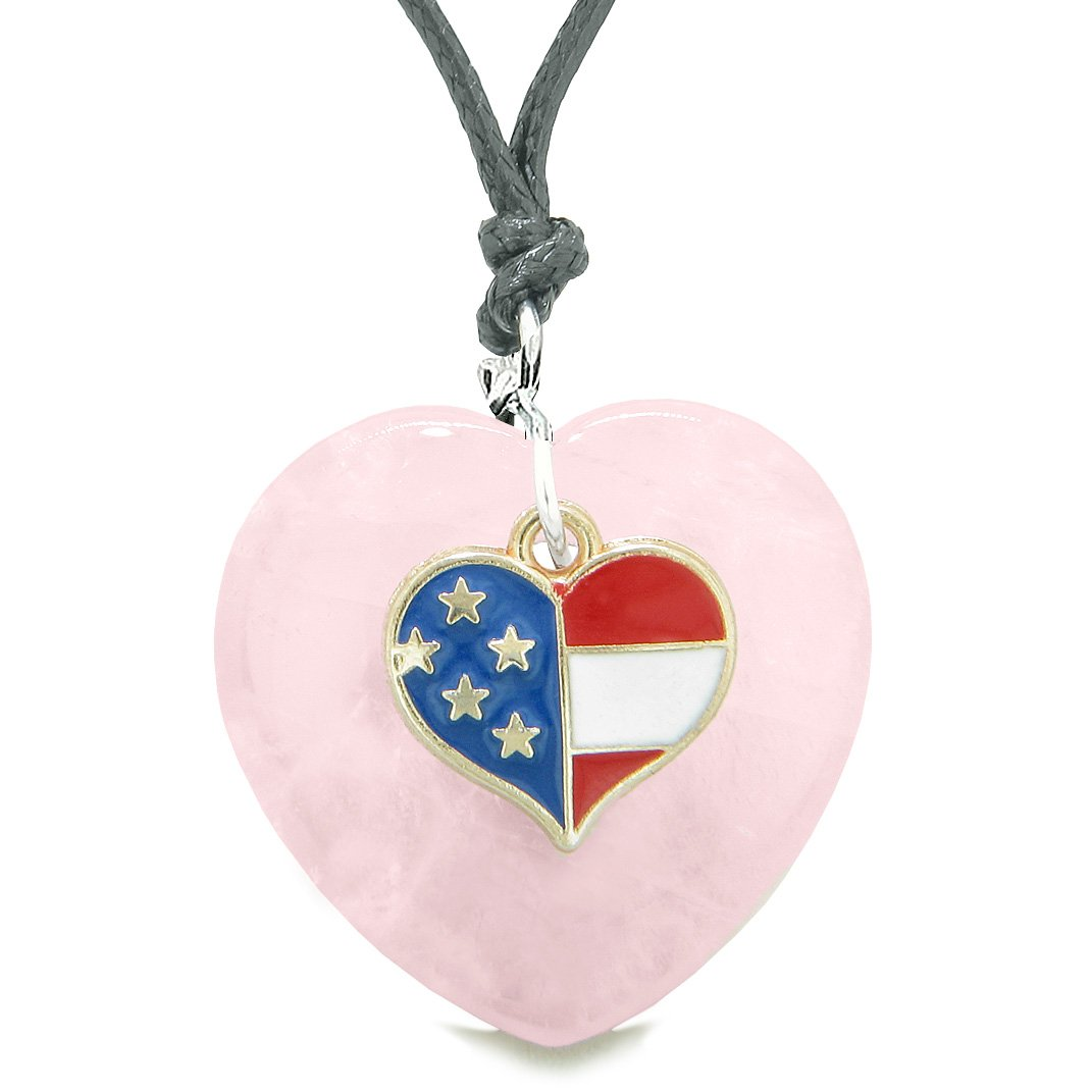 Proud USA Flag Spirit Puffy Heart Protection Amulet American Charm Rose Quartz Adjustable Necklace