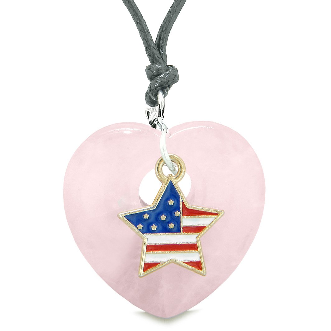 Proud USA Flag Spirit Puffy Heart Protection Amulet American Star Charm Rose Quartz Adjustable Necklace