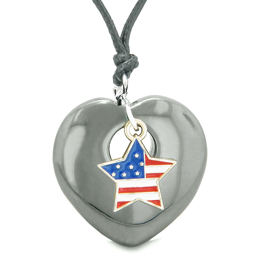 Proud USA Flag Spirit Puffy Heart Protection Amulet American Star Charm Hematite Adjustable Necklace