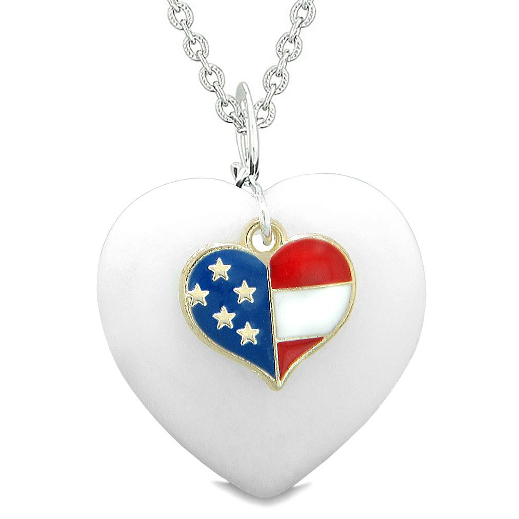 Proud USA Flag Spirit Puffy Heart Protection Amulet American Charm White Quartz 22 Inch Necklace