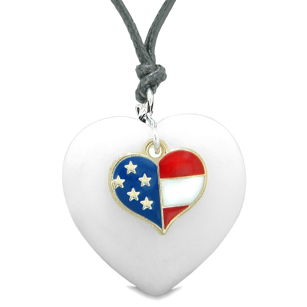 Proud USA Flag Spirit Puffy Heart Protection Amulet American Charm White Quartz Adjustable Necklace