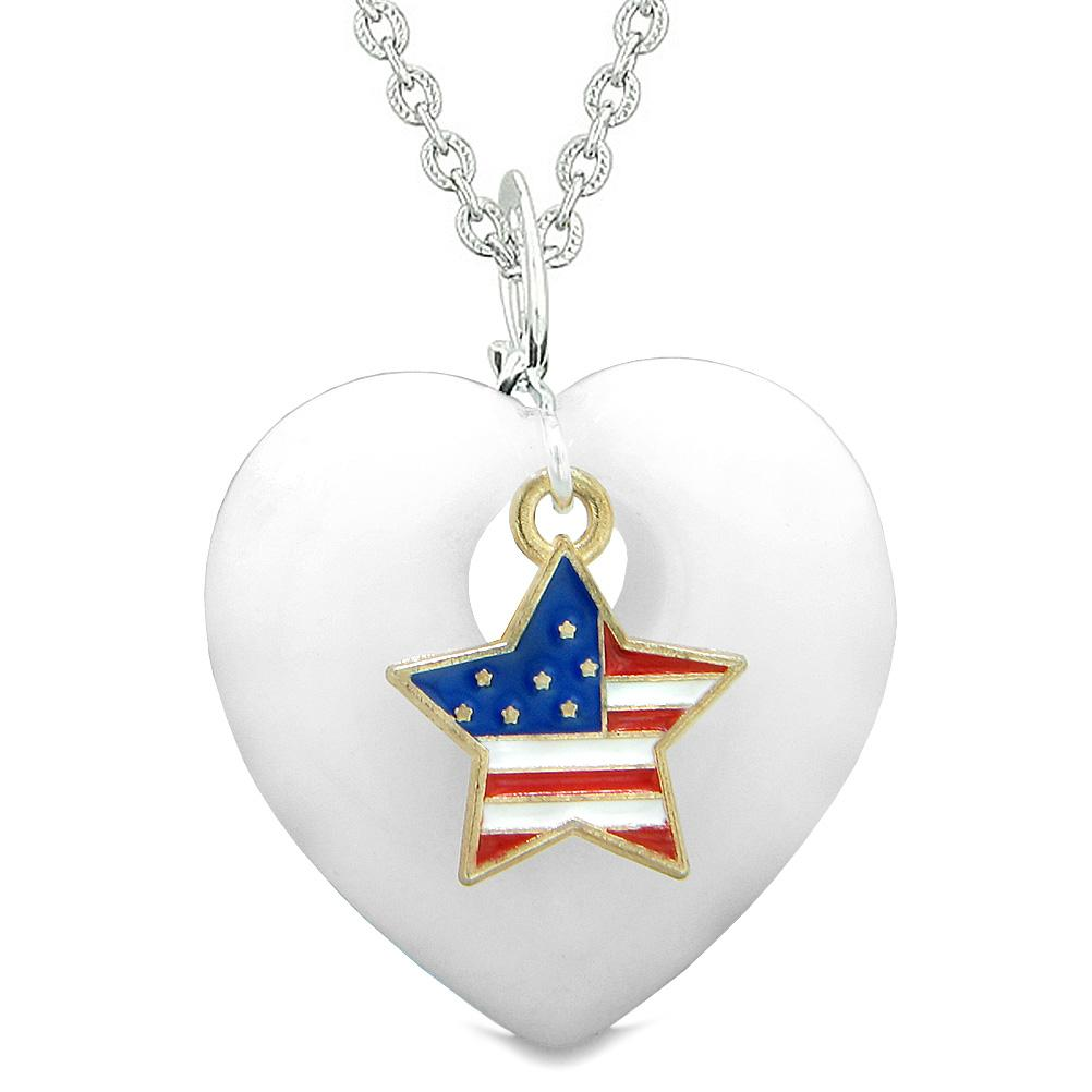 Proud USA Flag Spirit Puffy Heart Protection Amulet American Star Charm White Quartz 22 Inch Necklace