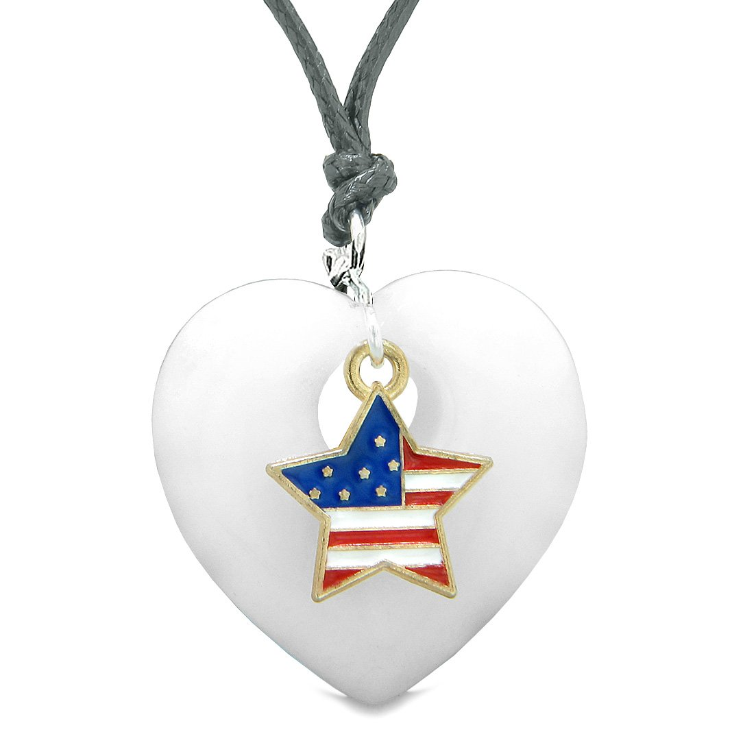 Proud USA Flag Spirit Puffy Heart Protection Amulet American Star Charm White Quartz Adjustable Necklace