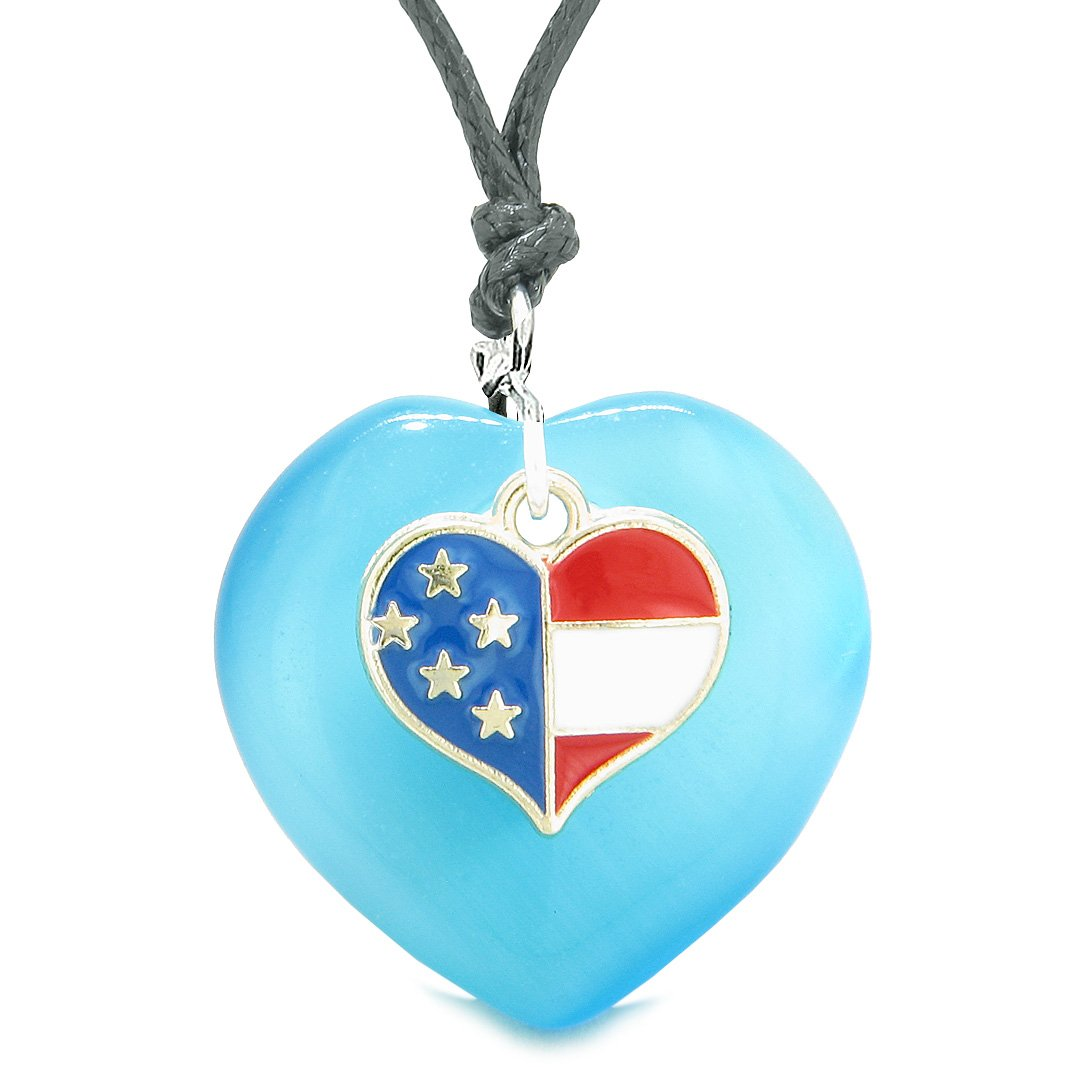 Proud USA Flag Spirit Puffy Heart Protection American Amulet Blue Simulated Cats Eye Adjustable Necklace