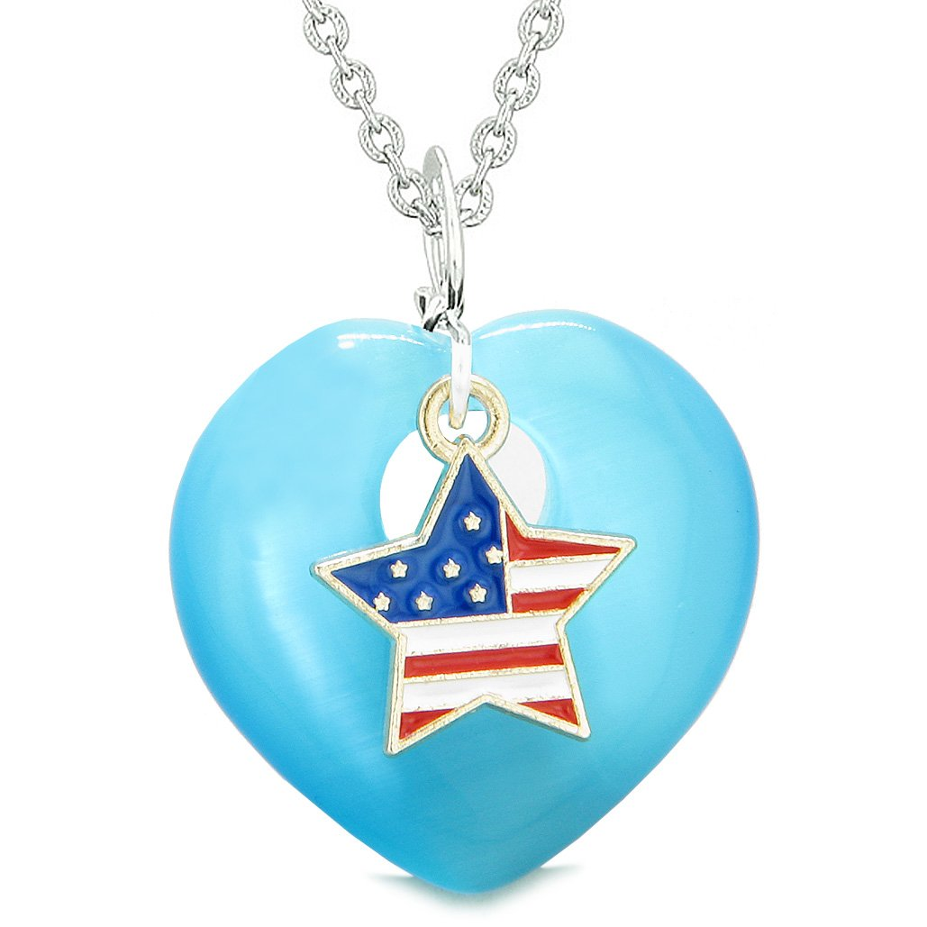 Proud USA Flag Spirit Heart Protection American Star Amulet Blue Simulated Cats Eye 22 Inch Necklace