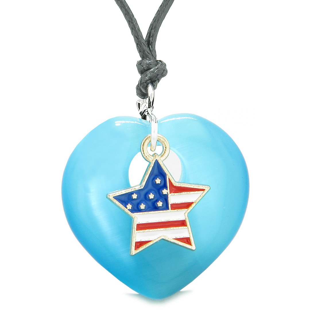 Proud USA Flag Spirit Heart Protection American Star Amulet Blue Simulated Cats Eye Adjustable Necklace