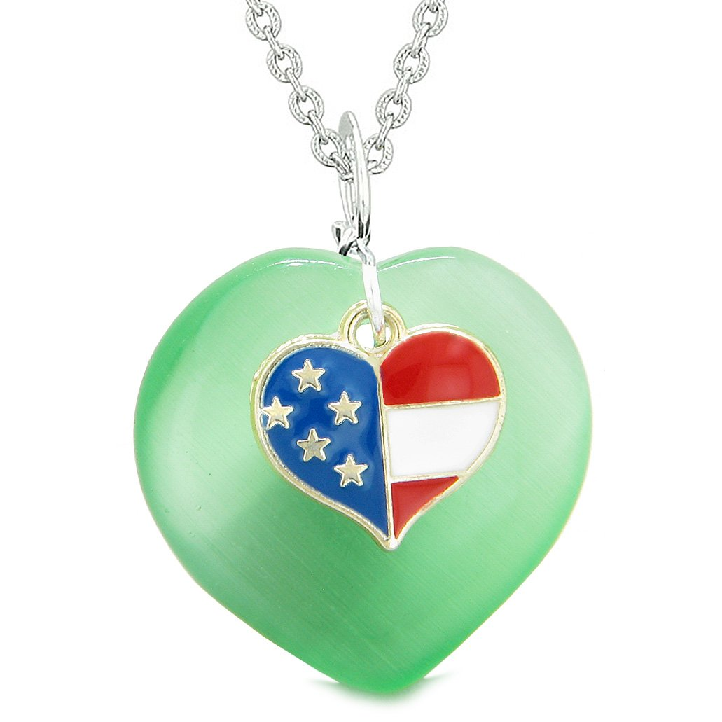 Proud USA Flag Spirit Puffy Heart Protection American Amulet Green Simulated Cats Eye 18 Inch Necklace