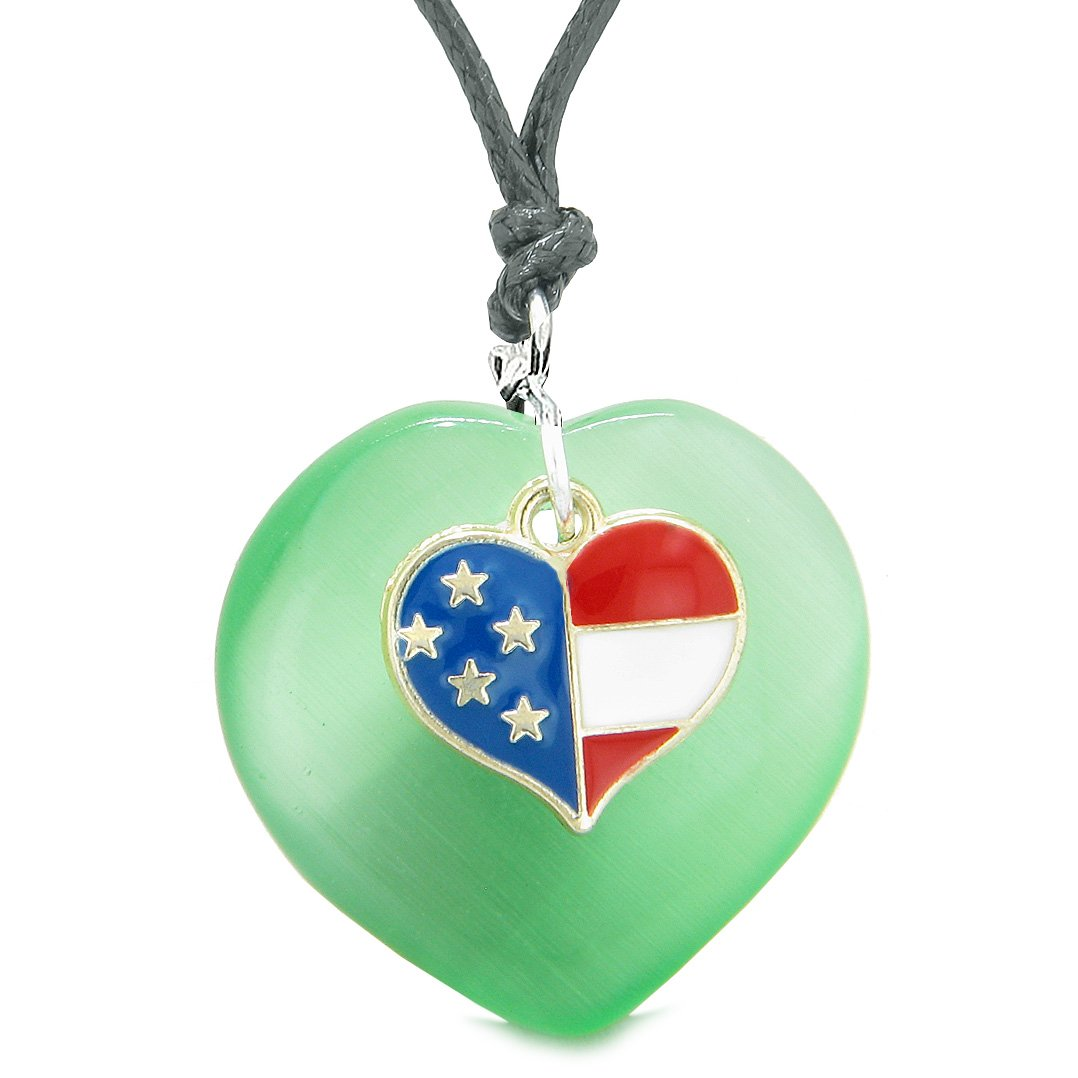 Proud USA Flag Spirit Puffy Heart Protection American Amulet Green Simulated Cats Eye Adjustable Necklace