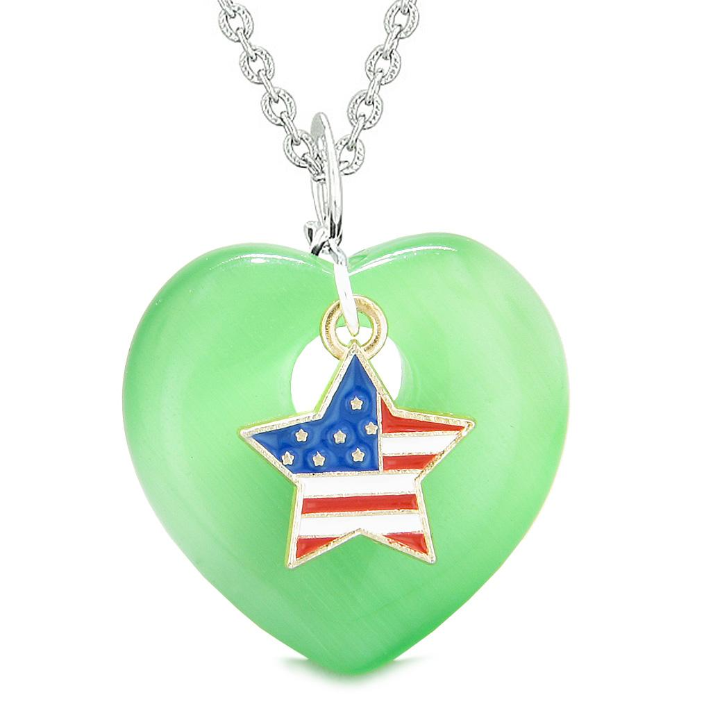 Proud USA Flag Spirit Heart Protection American Star Amulet Green Simulated Cats Eye 22 Inch Necklace