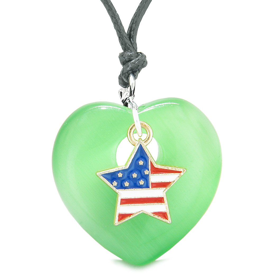 Proud USA Flag Spirit Heart Protection American Star Amulet Green Simulated Cats Eye Adjustable Necklace