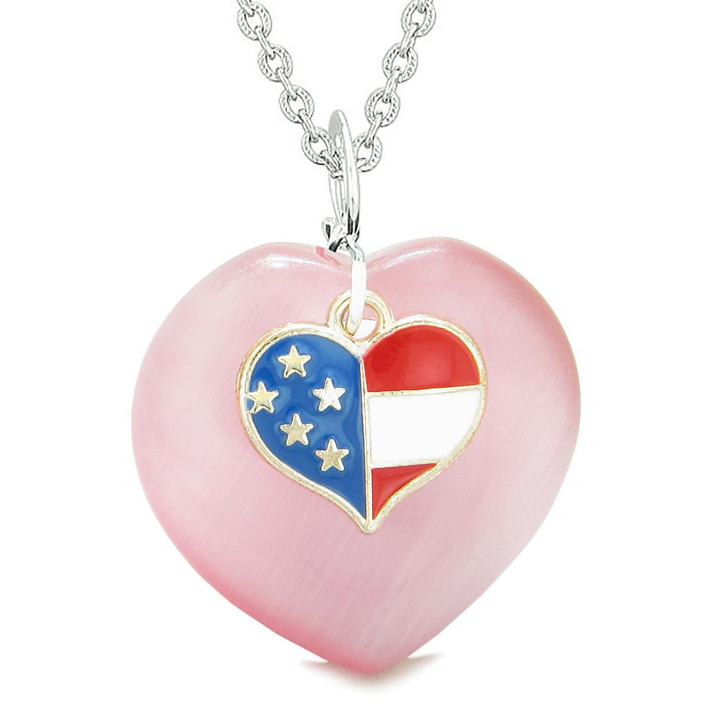 Proud USA Flag Spirit Puffy Heart Protection American Amulet Pink Simulated Cats Eye 18 Inch Necklace