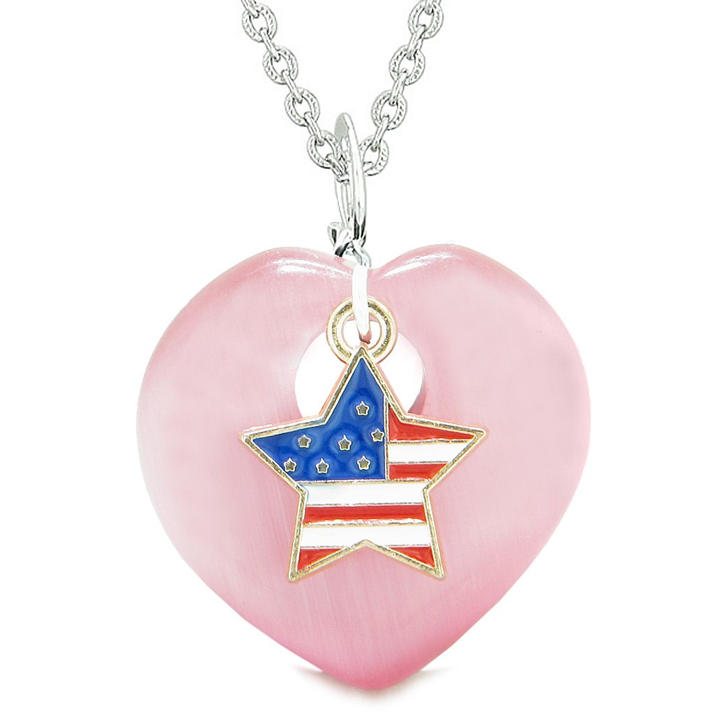 Proud USA Flag Spirit Heart Protection American Star Amulet Pink Simulated Cats Eye 22 Inch Necklace