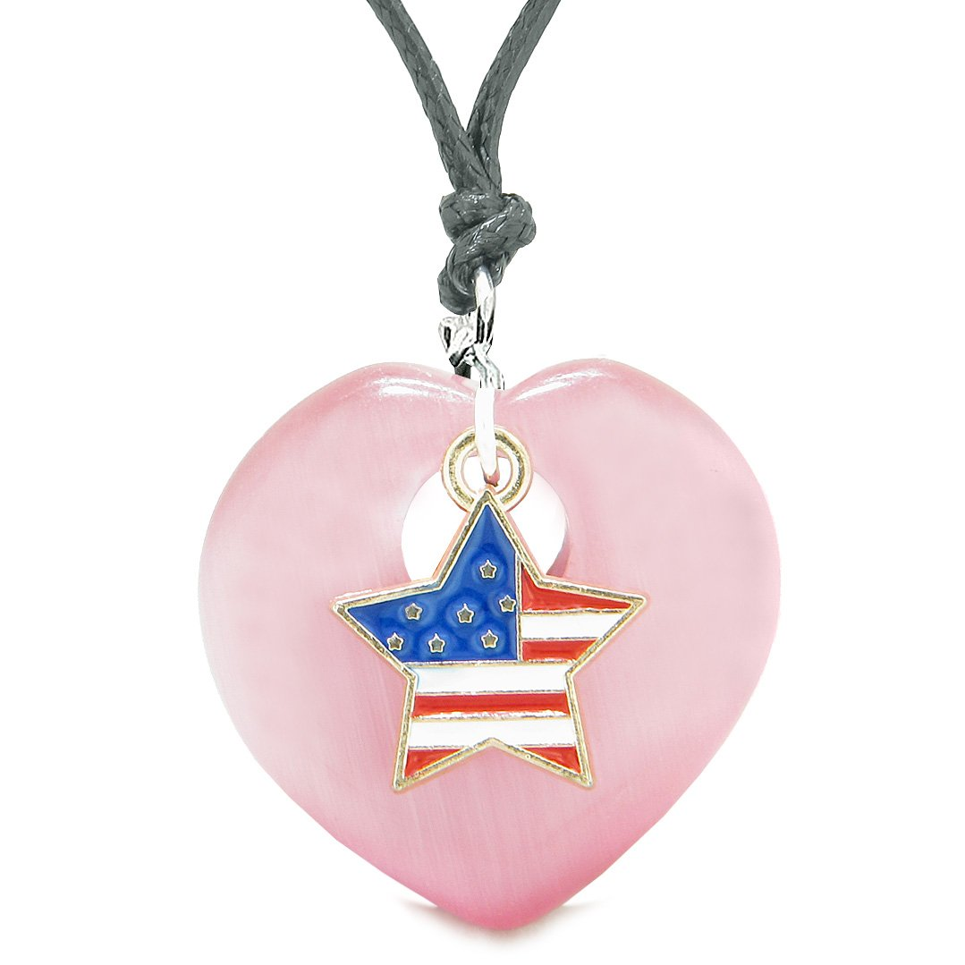Proud USA Flag Spirit Heart Protection American Star Amulet Pink Simulated Cats Eye Adjustable Necklace