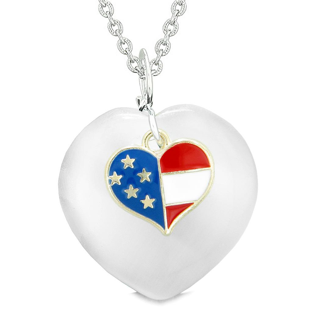 Proud USA Flag Spirit Puffy Heart Protection American Amulet White Simulated Cats Eye 22 Inch Necklace