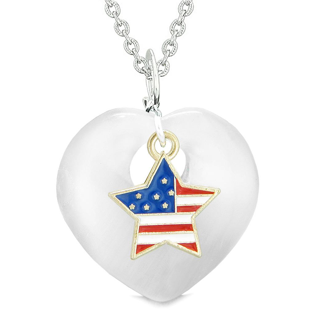 Proud USA Flag Spirit Heart Protection American Star Amulet White Simulated Cats Eye 22 Inch Necklace