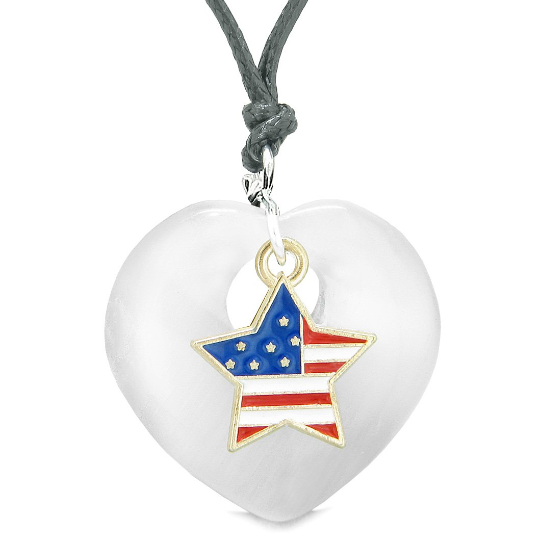 Proud USA Flag Spirit Heart Protection American Star Amulet White Simulated Cats Eye Adjustable Necklace