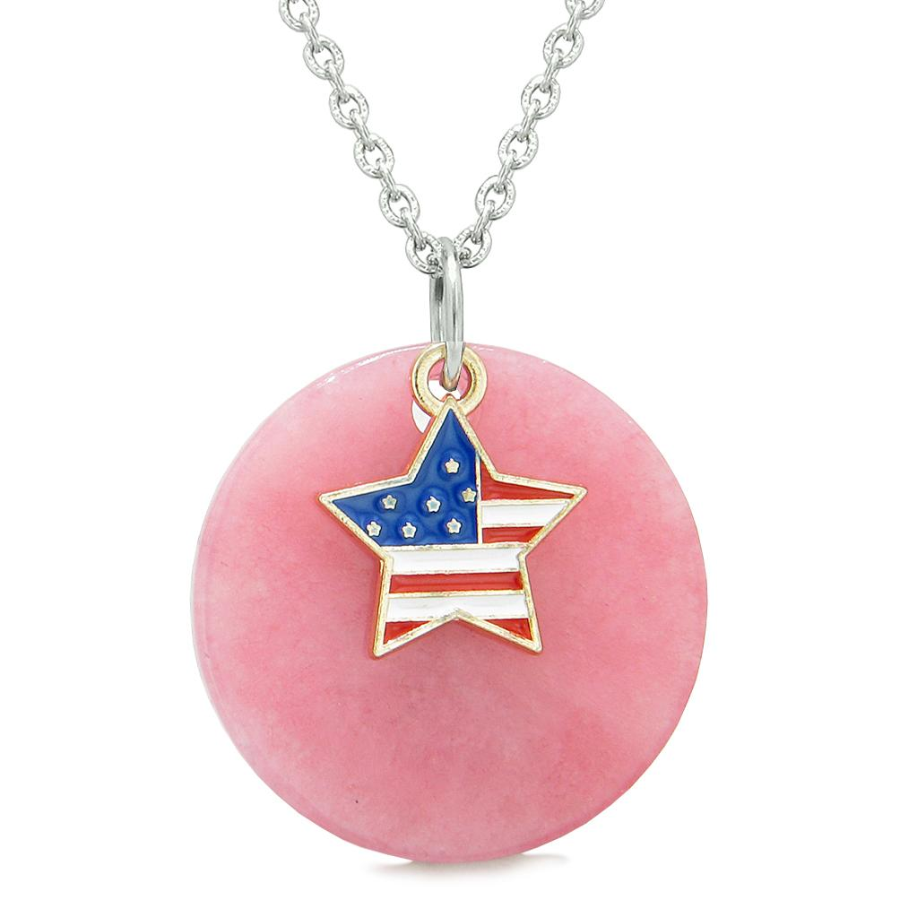 Proud American Flag Spirit Super Star Lucky Charm Pink Quartz Spiritual Amulet 22 Inch Necklace