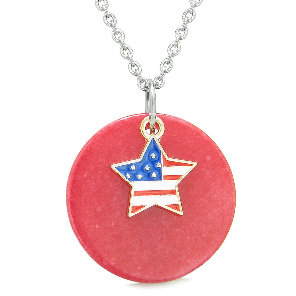 Proud American Flag Spirit Super Star Lucky Charm Red Quartz Spiritual Amulet 22 Inch Necklace