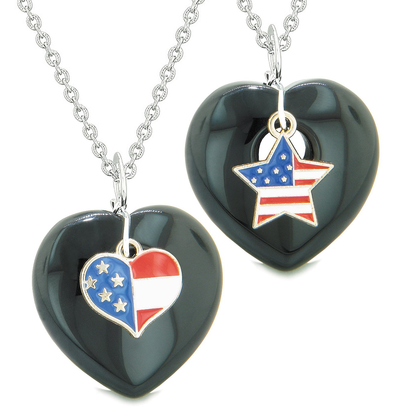 Proud USA Flag Super Heart and Star Love Couples or BFF Set Black Agate Protection Amulet Necklaces