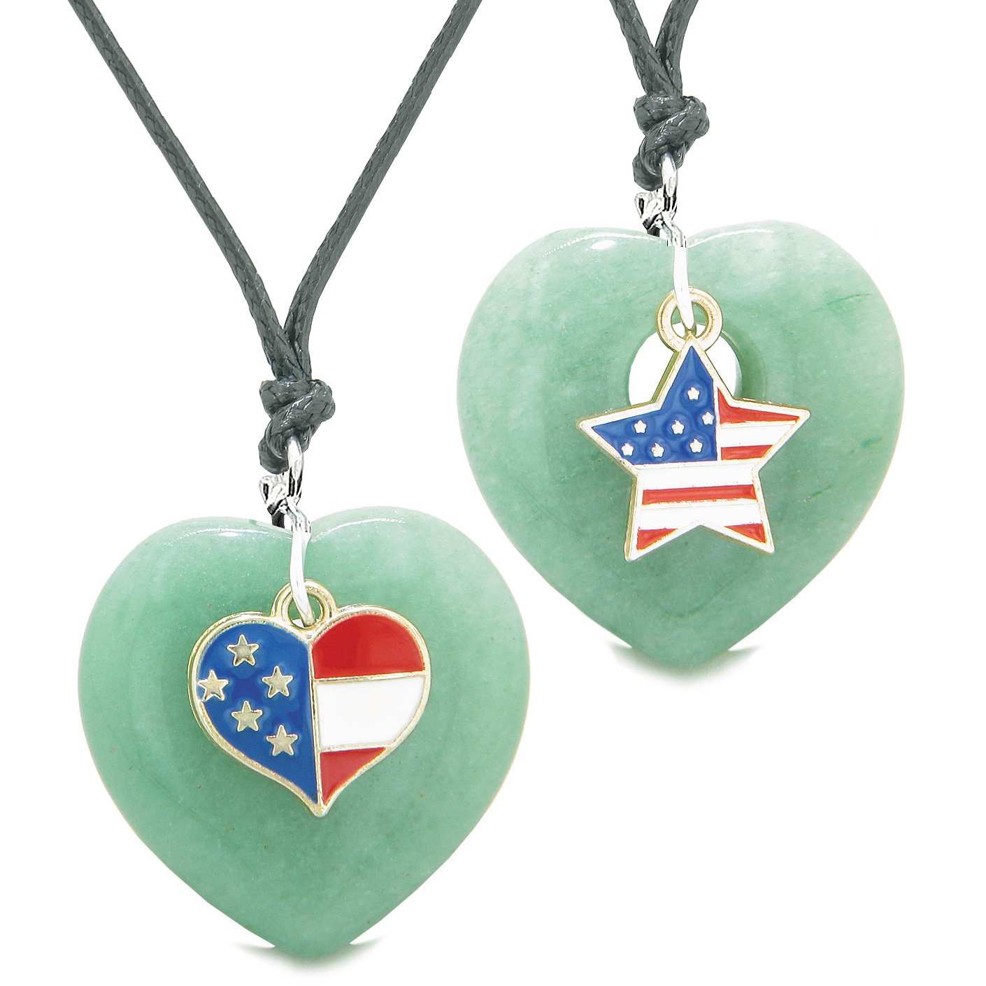 Proud USA Flag Super Heart and Star Love Couples or BFF Set Green Quartz Protection Amulet Cord Necklaces