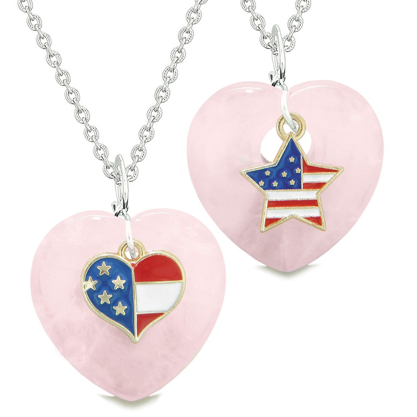 Proud USA Flag Super Heart and Star Love Couples or BFF Set Rose Quartz Protection Amulet Necklaces