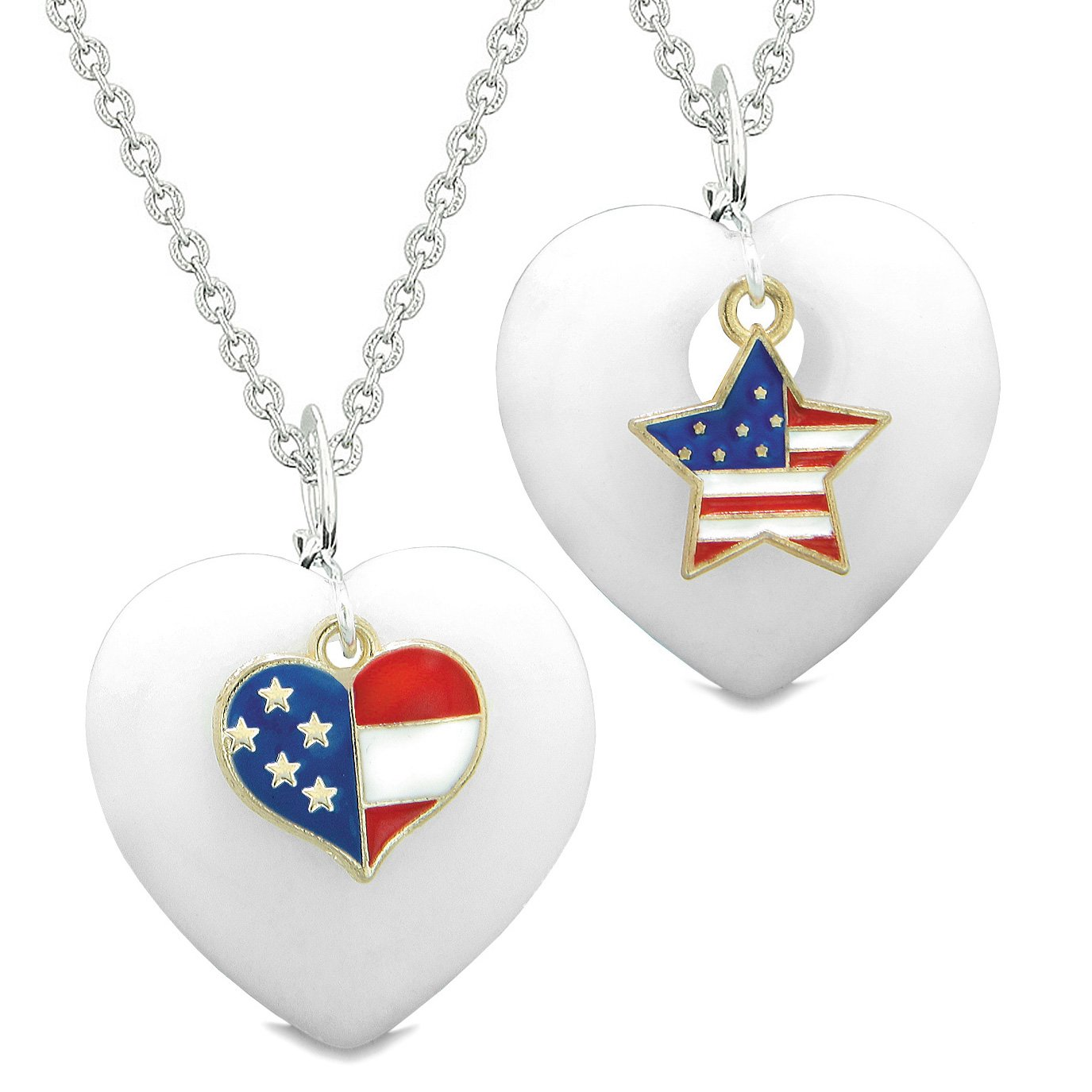 Proud USA Flag Super Heart and Star Love Couples or BFF Set White Quartz Protection Amulet Necklaces
