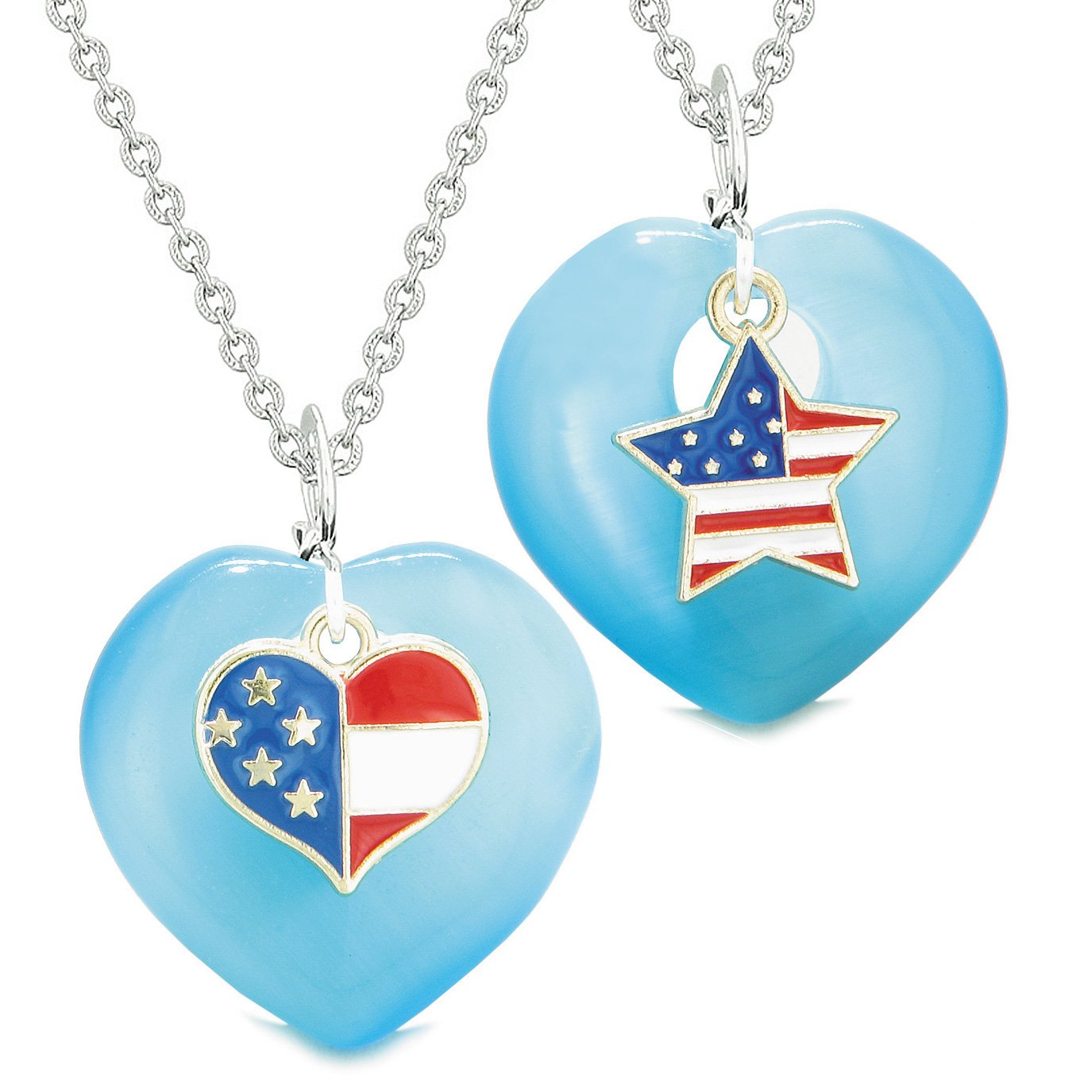 Proud USA Flag Super Heart and Star Love Couples or BFF Set Blue Simulated Cats Eye Amulet Necklaces