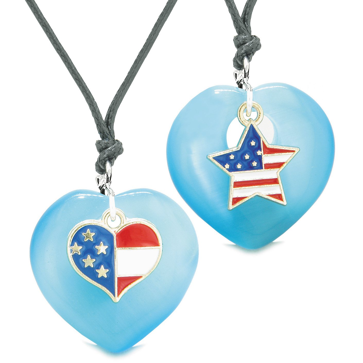Proud USA Flag Super Heart and Star Love Couples or BFF Set Blue Simulated Cats Eye Amulet Cord Necklaces