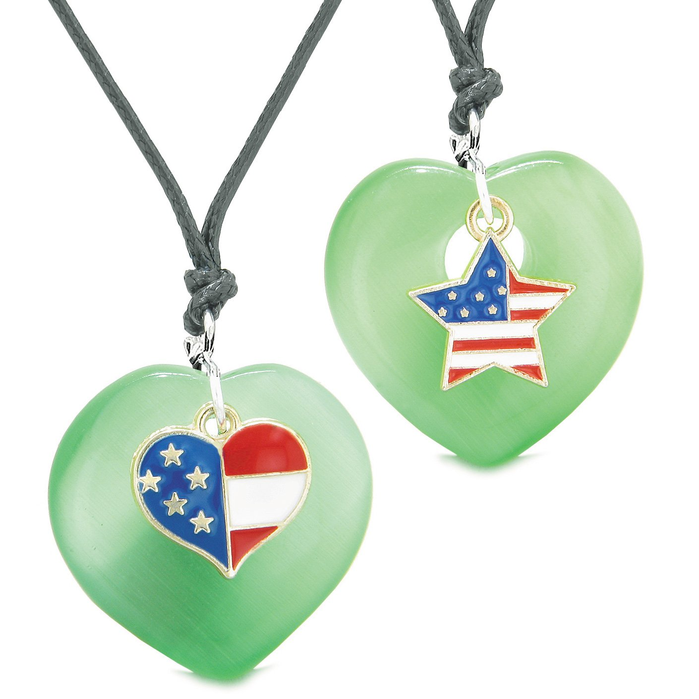 Proud USA Flag Super Heart and Star Love Couples BFF Set Green Simulated Cats Eye Amulet Cord Necklaces