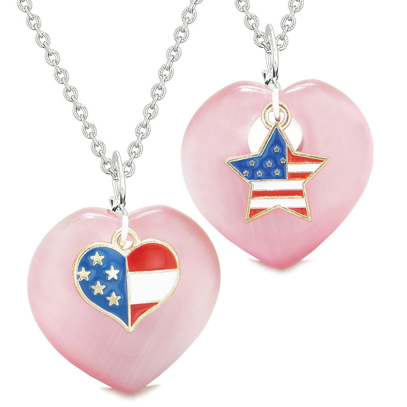 Proud USA Flag Super Heart and Star Love Couples or BFF Set Pink Simulated Cats Eye Amulet Necklaces