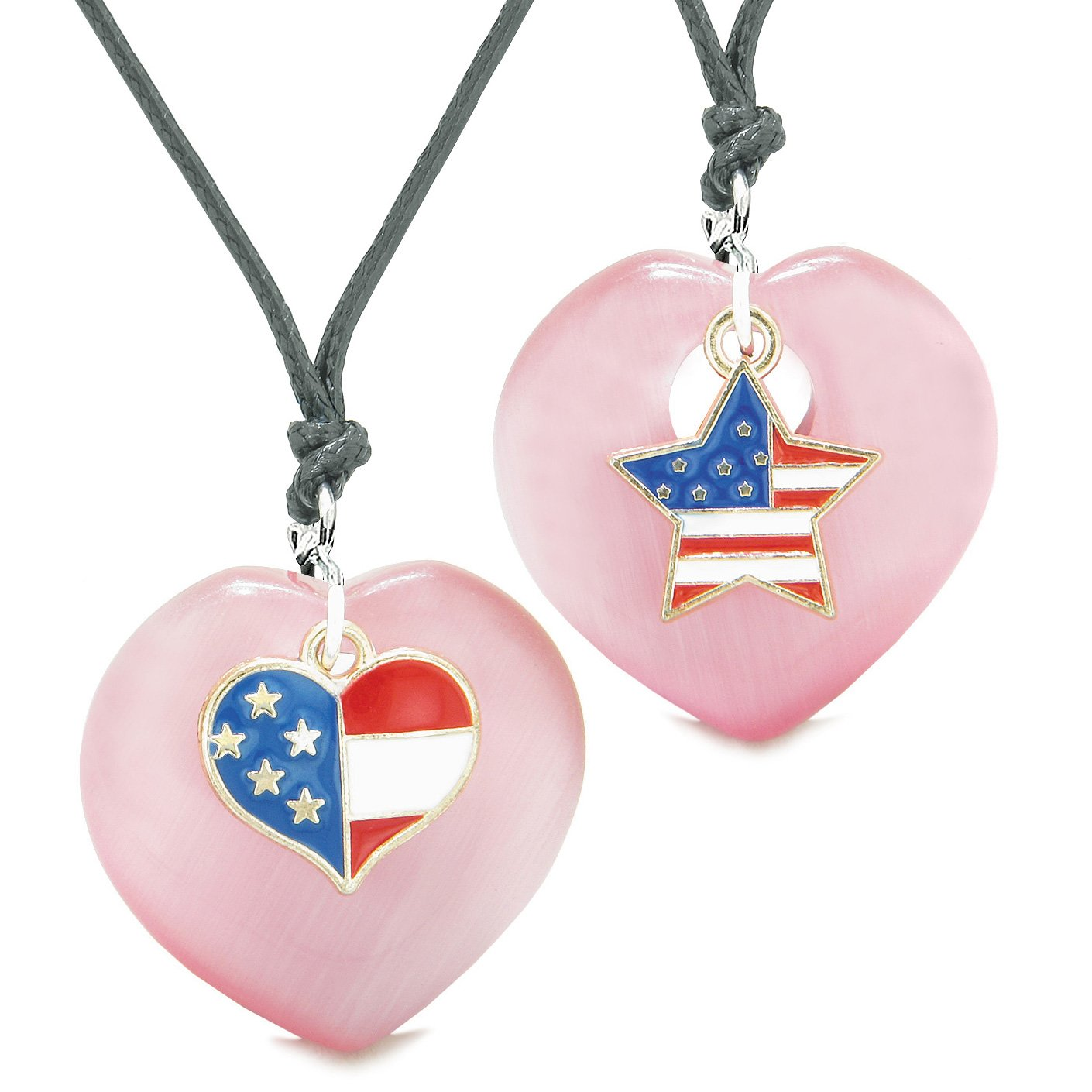 Proud USA Flag Super Heart and Star Love Couples or BFF Set Pink Simulated Cats Eye Amulet Cord Necklaces