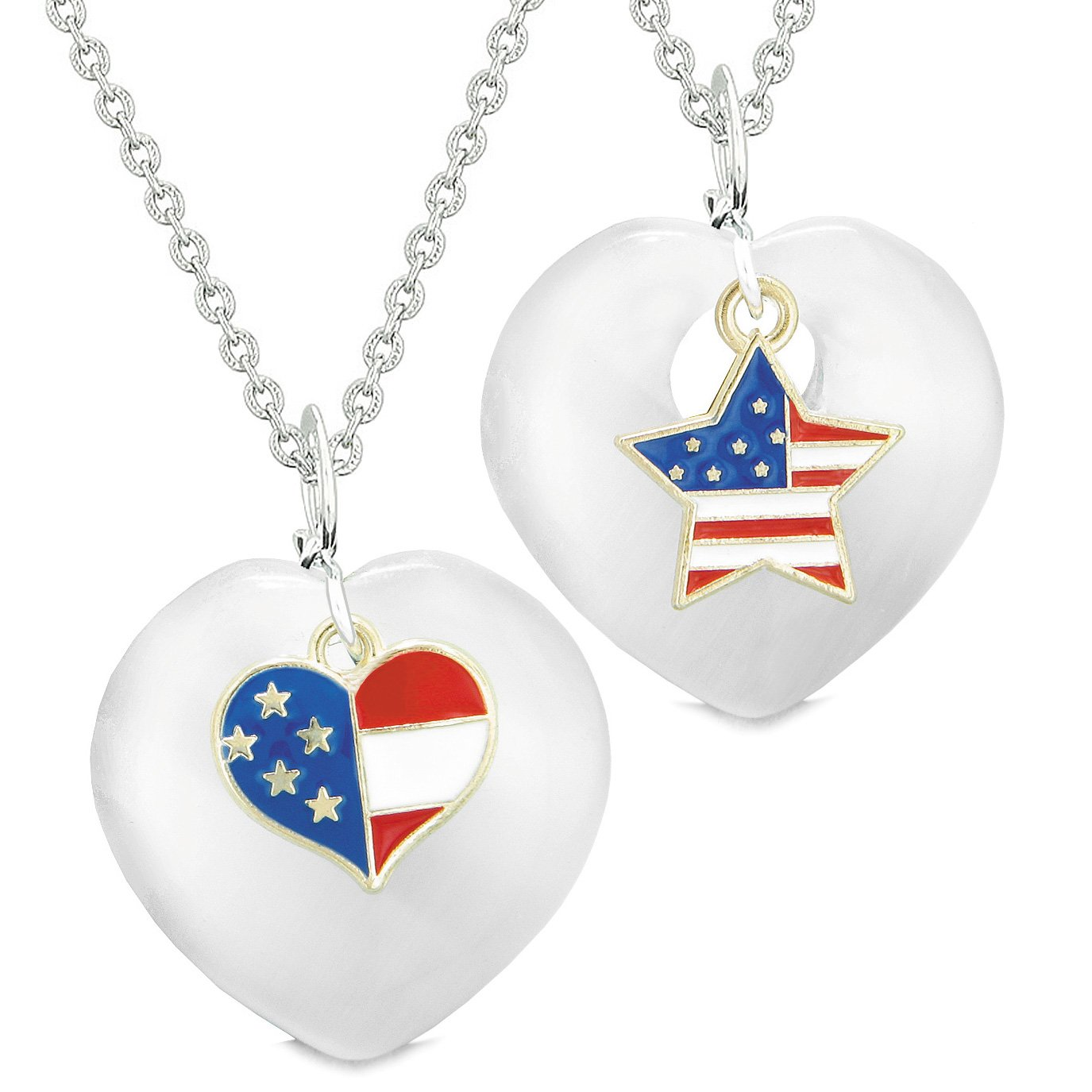 Proud USA Flag Super Heart and Star Love Couples or BFF Set White Simulated Cats Eye Amulet Necklaces