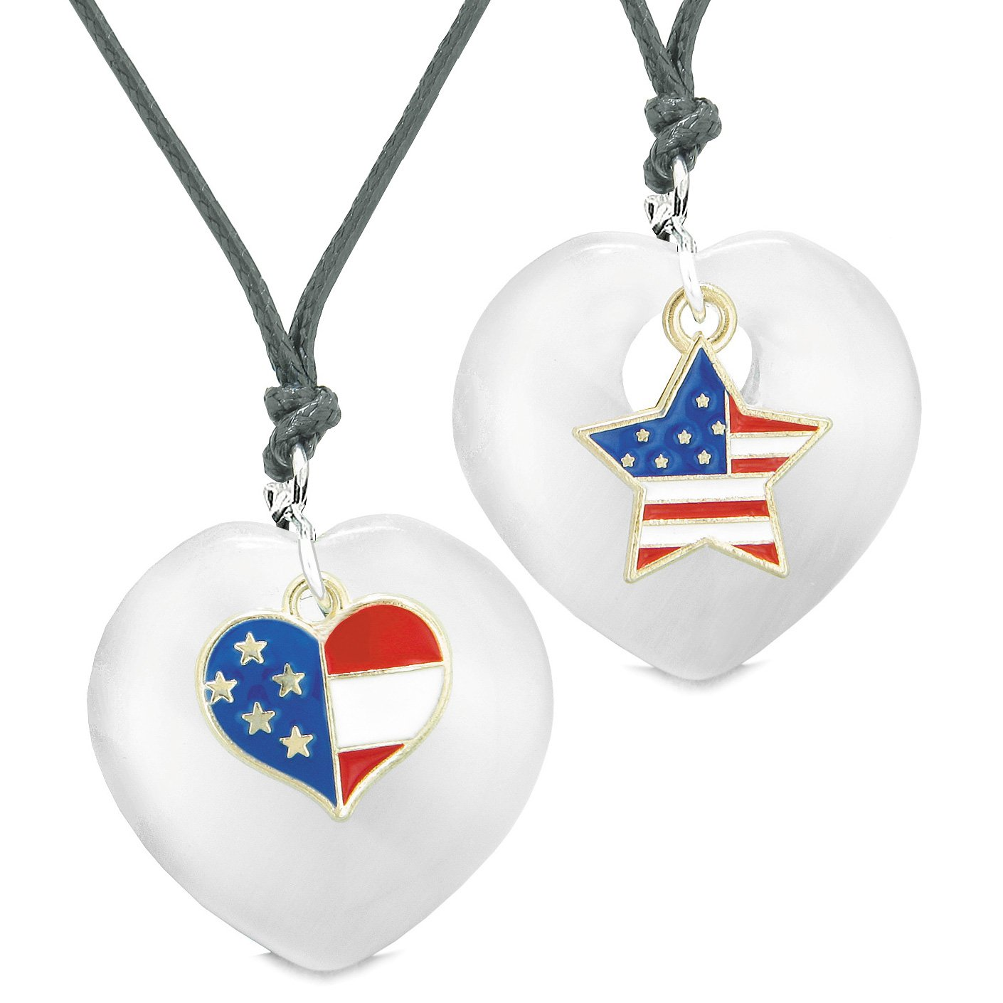 Proud USA Flag Super Heart and Star Love Couples or BFF Set White Simulated Cat Eye Amulet Cord Necklaces