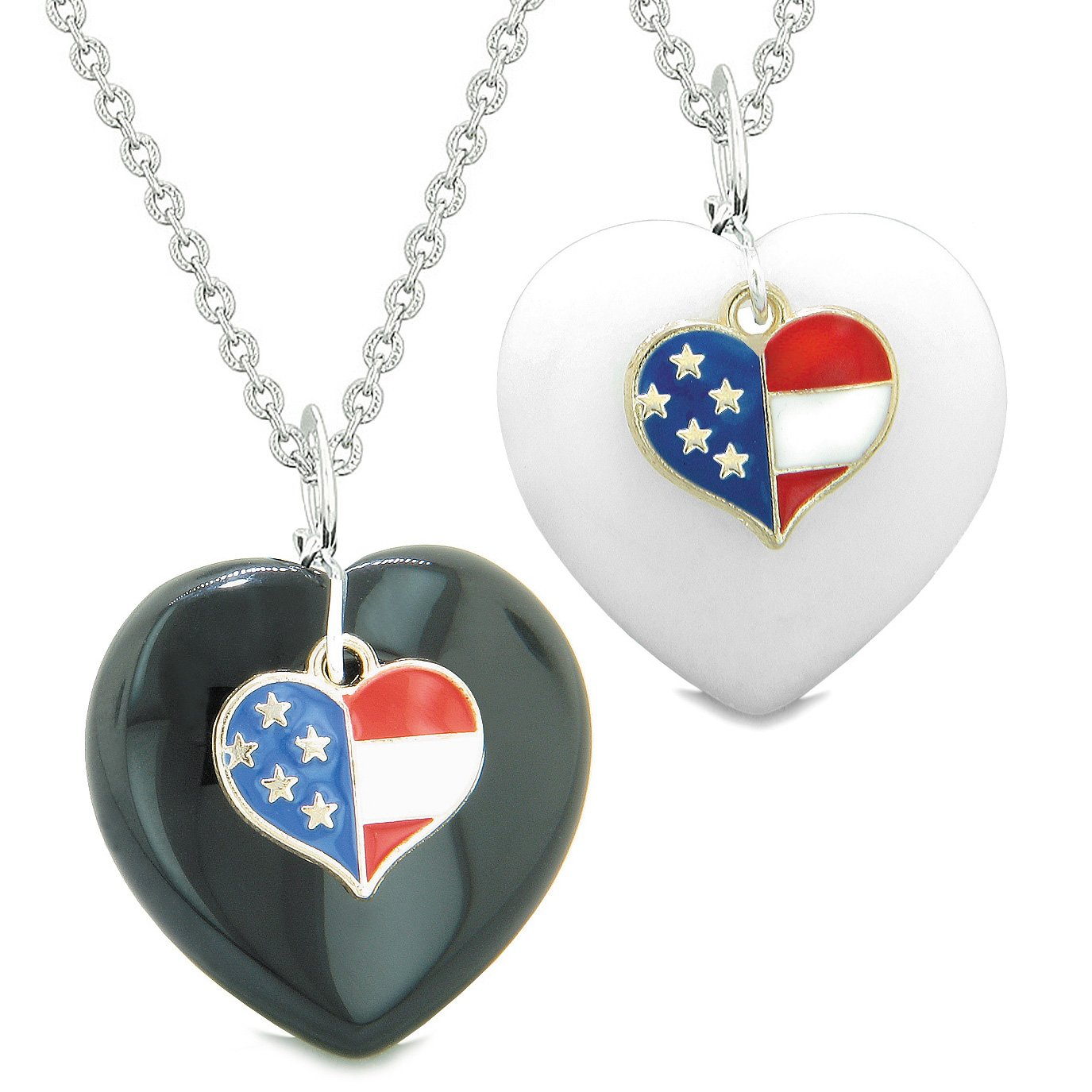 Proud USA Flag Super Heart Charm Love Couples or BFF Set Black Agate White Quartz Amulet Necklaces