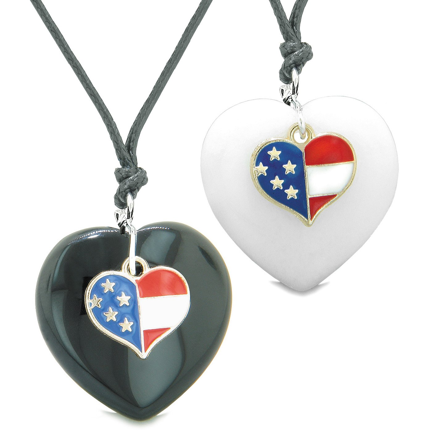 Proud USA Flag Super Heart Charm Love Couples or BFF Set Black Agate White Quartz Amulet Cord Necklaces