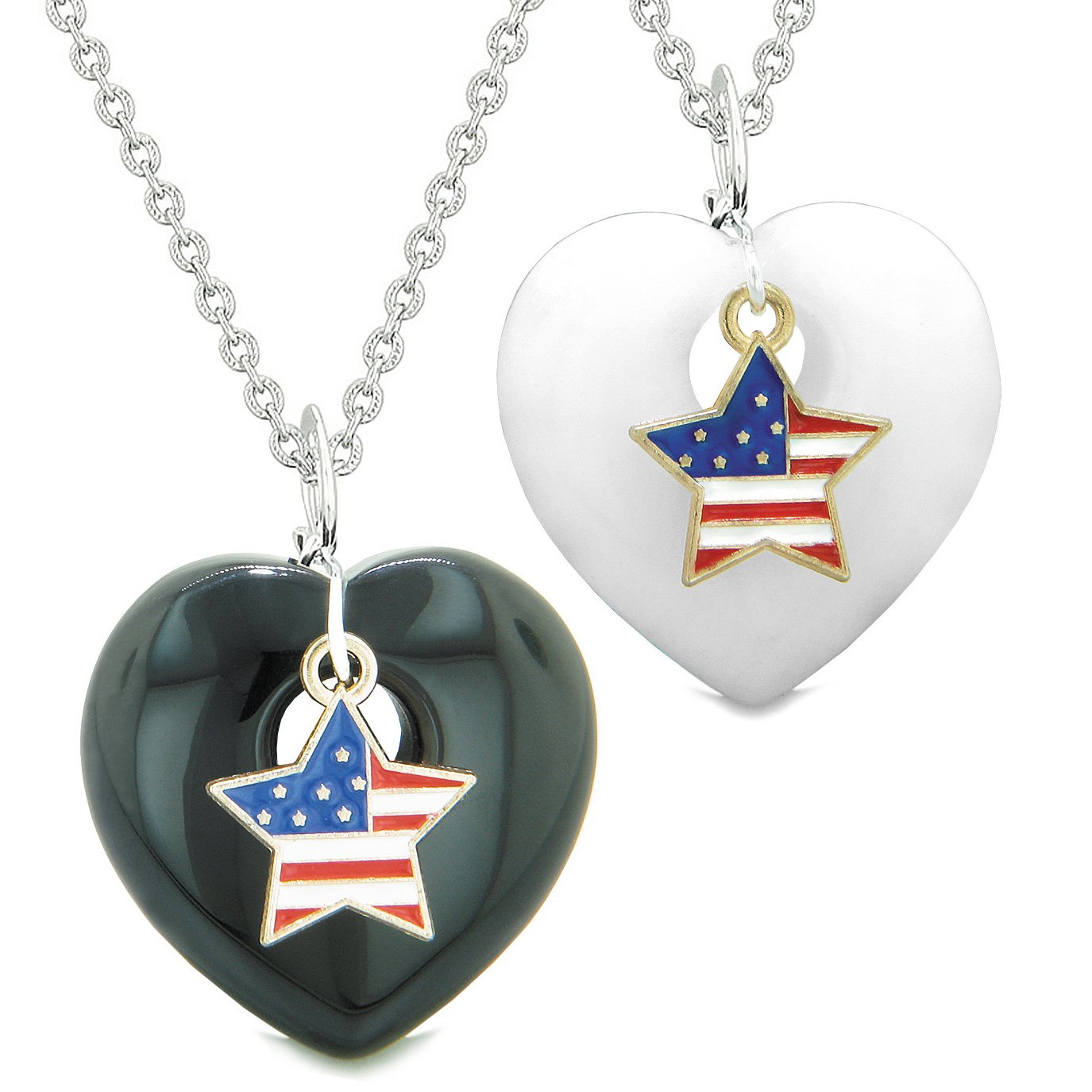Proud USA Flag Super Star Charm Love Couples or BFF Set Black Agate White Quartz Amulet Necklaces