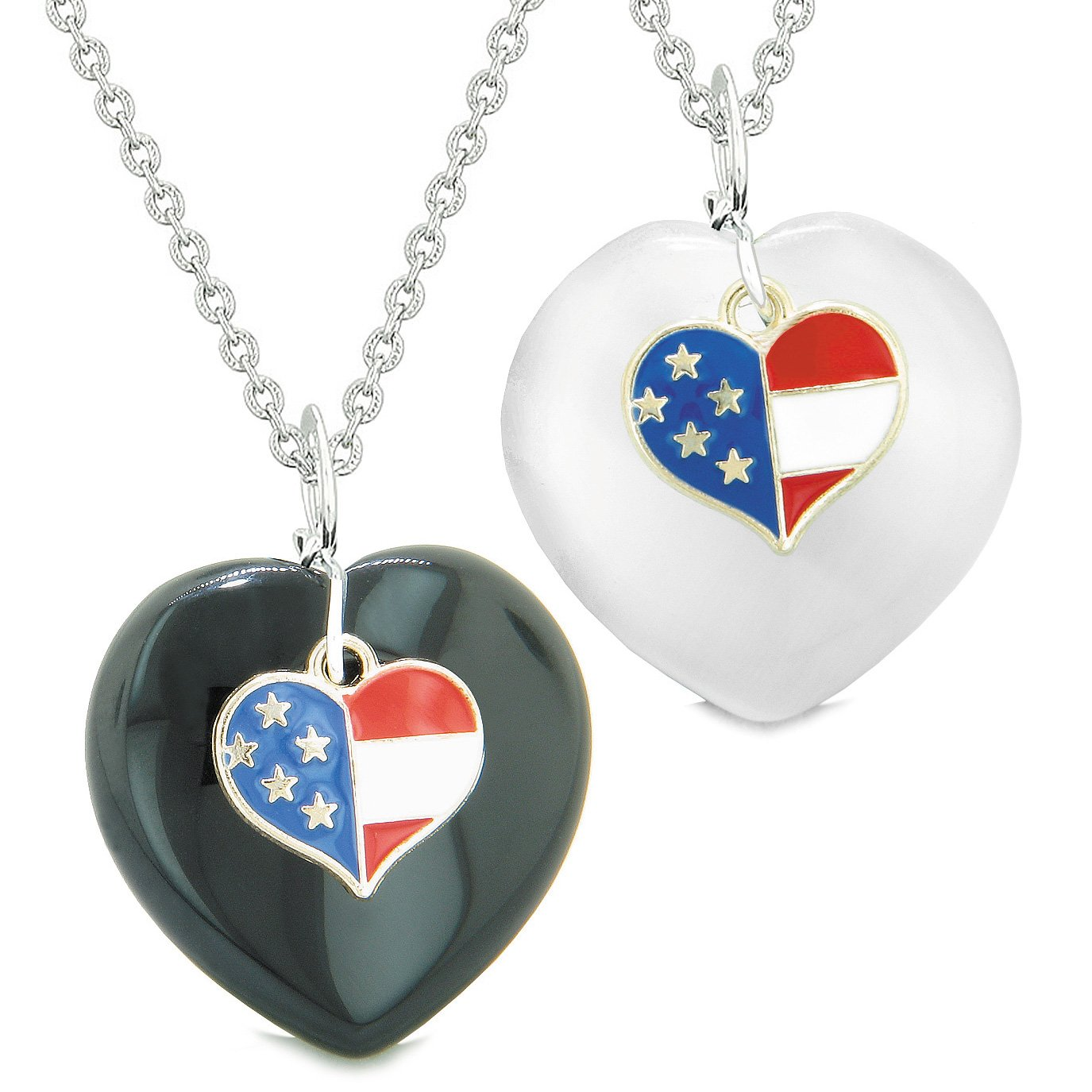 Proud USA Flag Super Heart Charm Love Couples BFF Set Agate White Simulated Cats Eye Amulet Necklaces