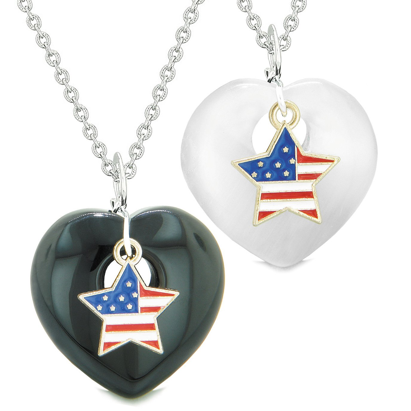 Proud USA Flag Super Star Charm Love Couples BFF Set Agate White Simulated Cats Eye Amulet Necklaces