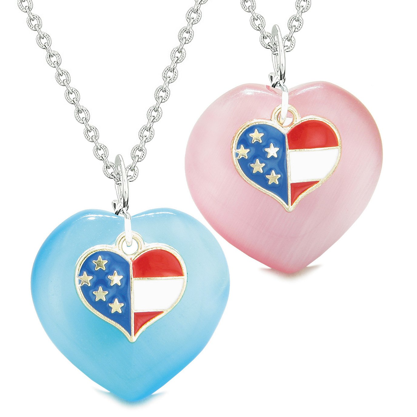 Proud USA Flag Super Heart Charm Love Couples or BFF Set Blue Pink Simulated Cats Eye Amulet Necklaces